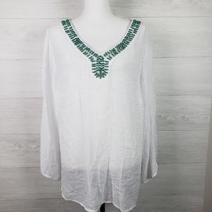 Alyx Top Plus Size 1X V Neck Sheer Cover Up